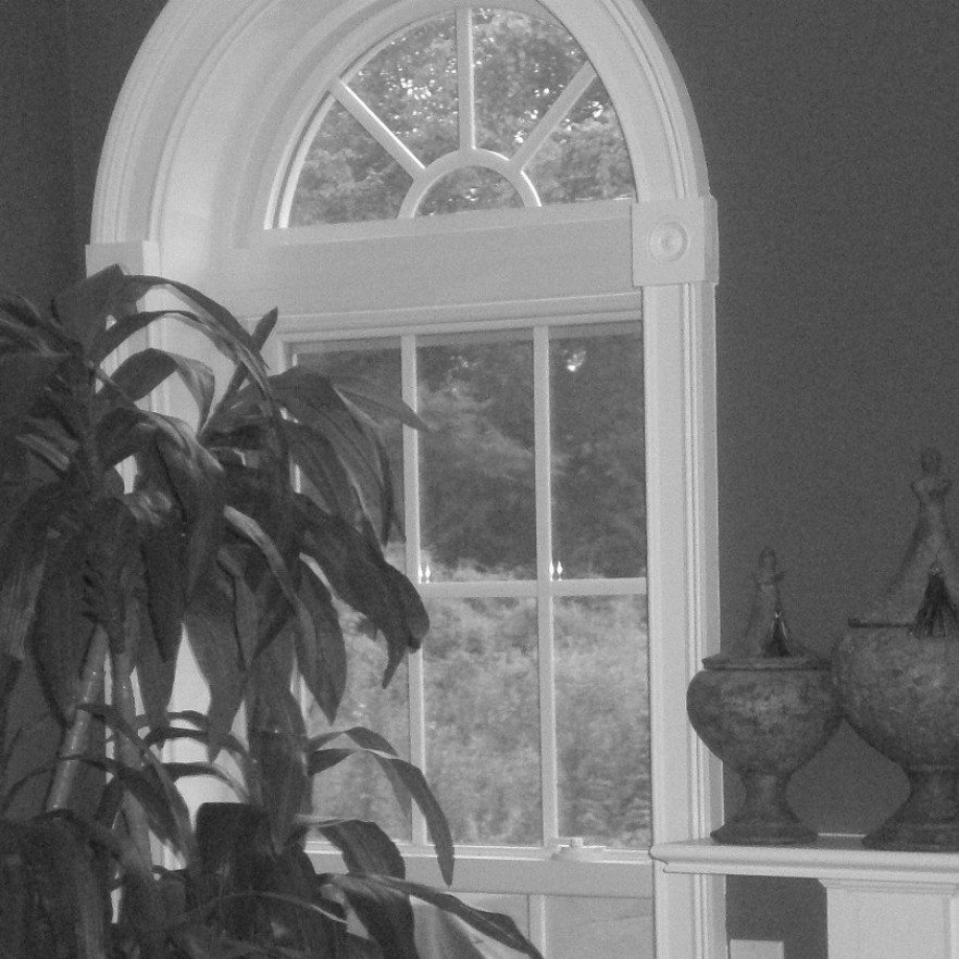 BLACK AND WHITE IMAGE OF HEAD IN WINDOW